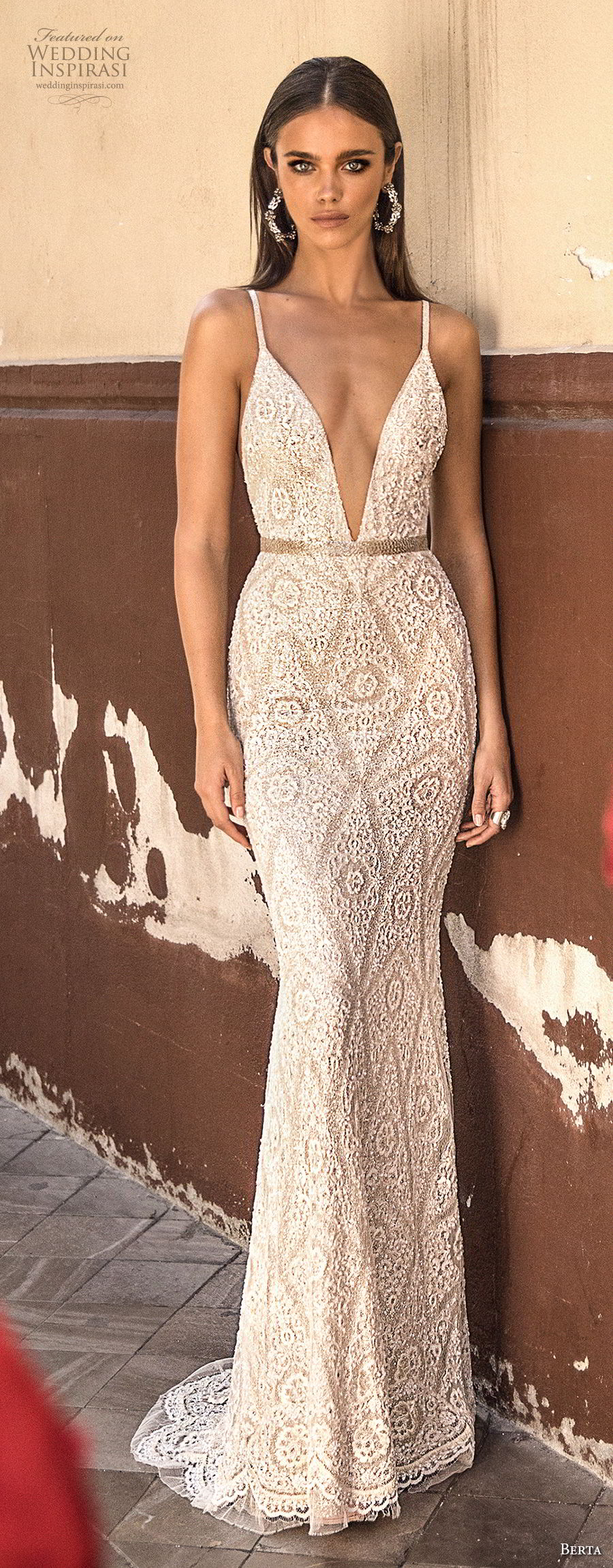berta fall 2018 bridal sleeveless spaghetti strap deep v neck full embellishment elegant sexy sheath wedding dress open back sweep train (25) lv