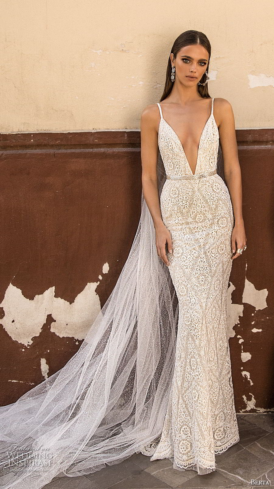 berta fall 2018 bridal sleeveless spaghetti strap deep v neck full embellishment elegant sexy sheath wedding dress open back sweep train (25) mv