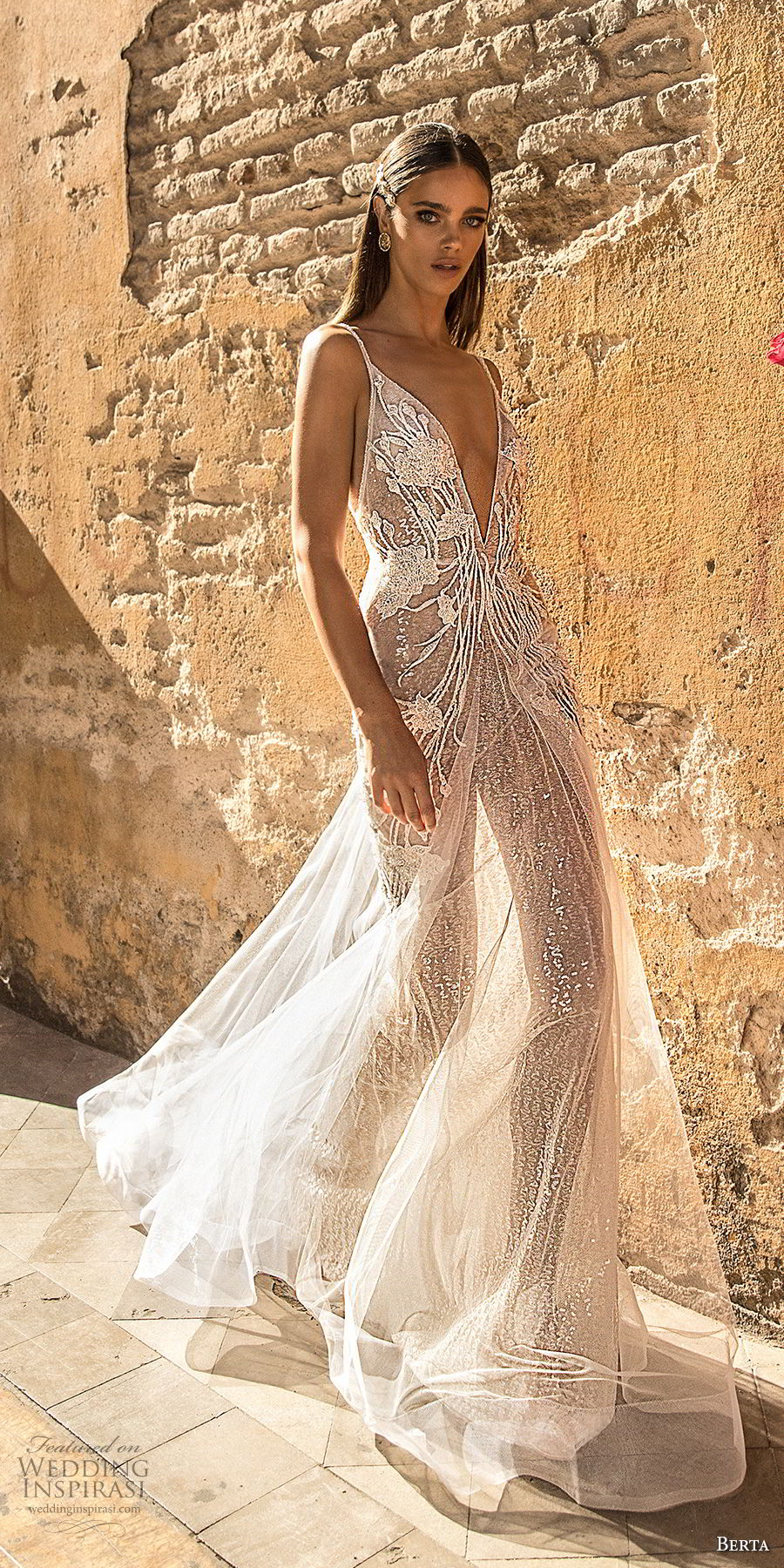 berta fall 2018 bridal sleeveless spaghetti strap deep v neck heavily embellished bodice romantic soft a  line wedding dress open back sweep train (22) mv