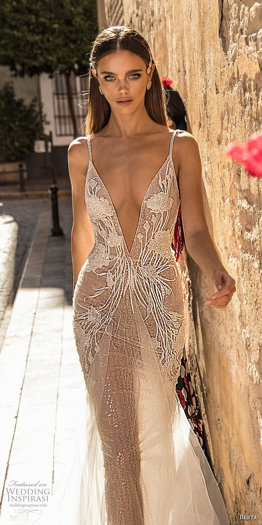 berta fall 2018 bridal sleeveless spaghetti strap deep v neck heavily embellished bodice romantic soft a  line wedding dress open back sweep train (22) zv