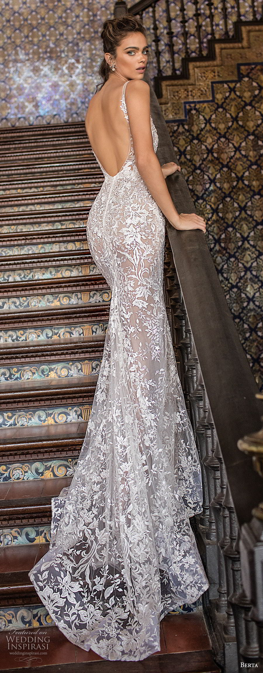 berta fall 2018 bridal sleeveless thin strap deep plunging sweetheart neckline elegant sexy fit and flare wedding dress open scoop back sweep train (10) bv