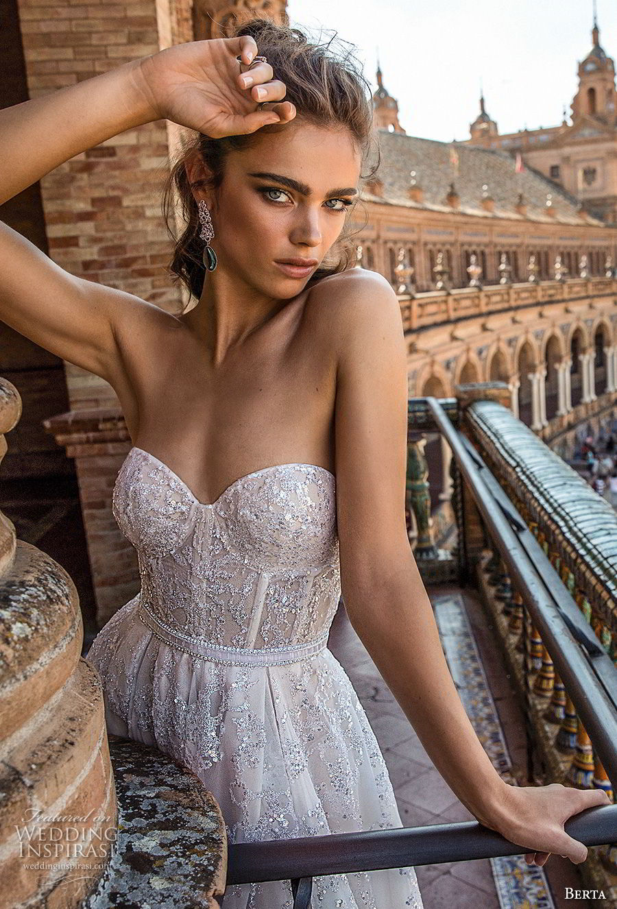 berta fall 2018 bridal strapless sweetheart neckline full embellishment bustier bodice elegant a  line wedding dress open back chapel train (9) zv
