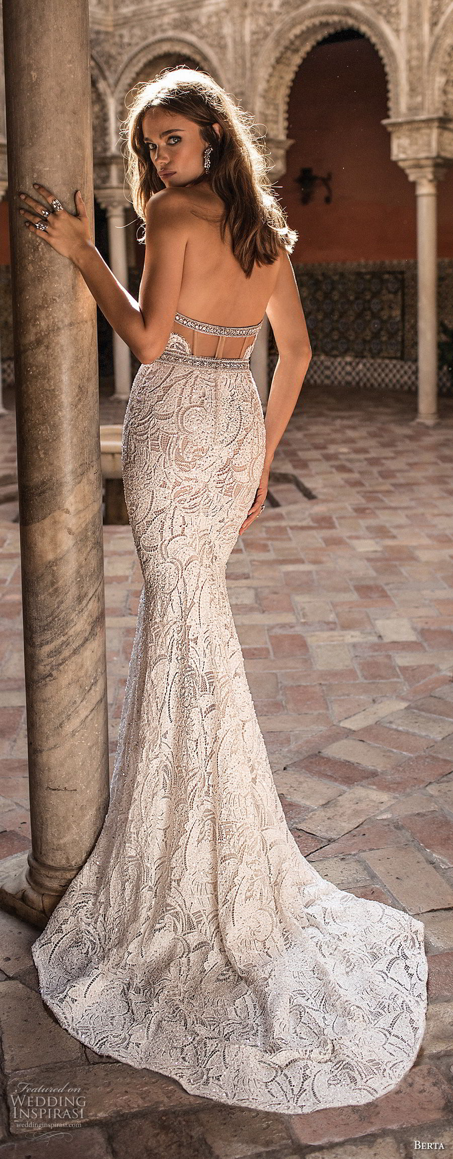 berta fall 2018 bridal strapless sweetheart neckline full embellishment elegant fit and flare sheath wedding dress open back sweep train (11) bv