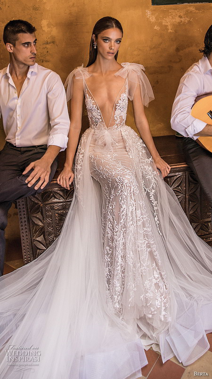 berta fall 2018 bridal thin strap deep plunging v neck full embellishment elegant sexy romantic a  line wedding dress open back long train (18) mv