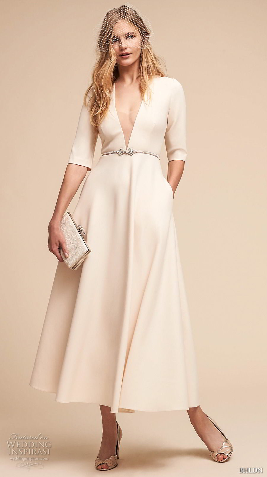 bhldn spring 2018 bridal half sleeves deep v neck simple clean elegant classy ankle length short wedding dress with pockets (14) mv