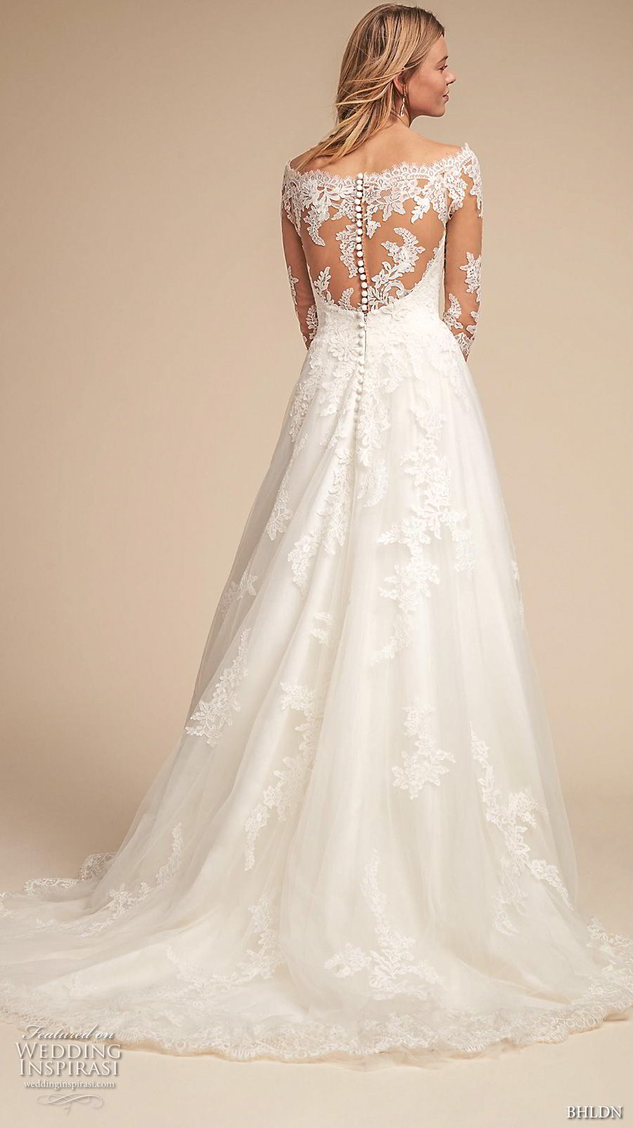 bhldn spring 2018 bridal half sleeves illusion bateau sweetheart neckline full embellishment romantic elegant a  line wedding dress lace back medium train (1) bv