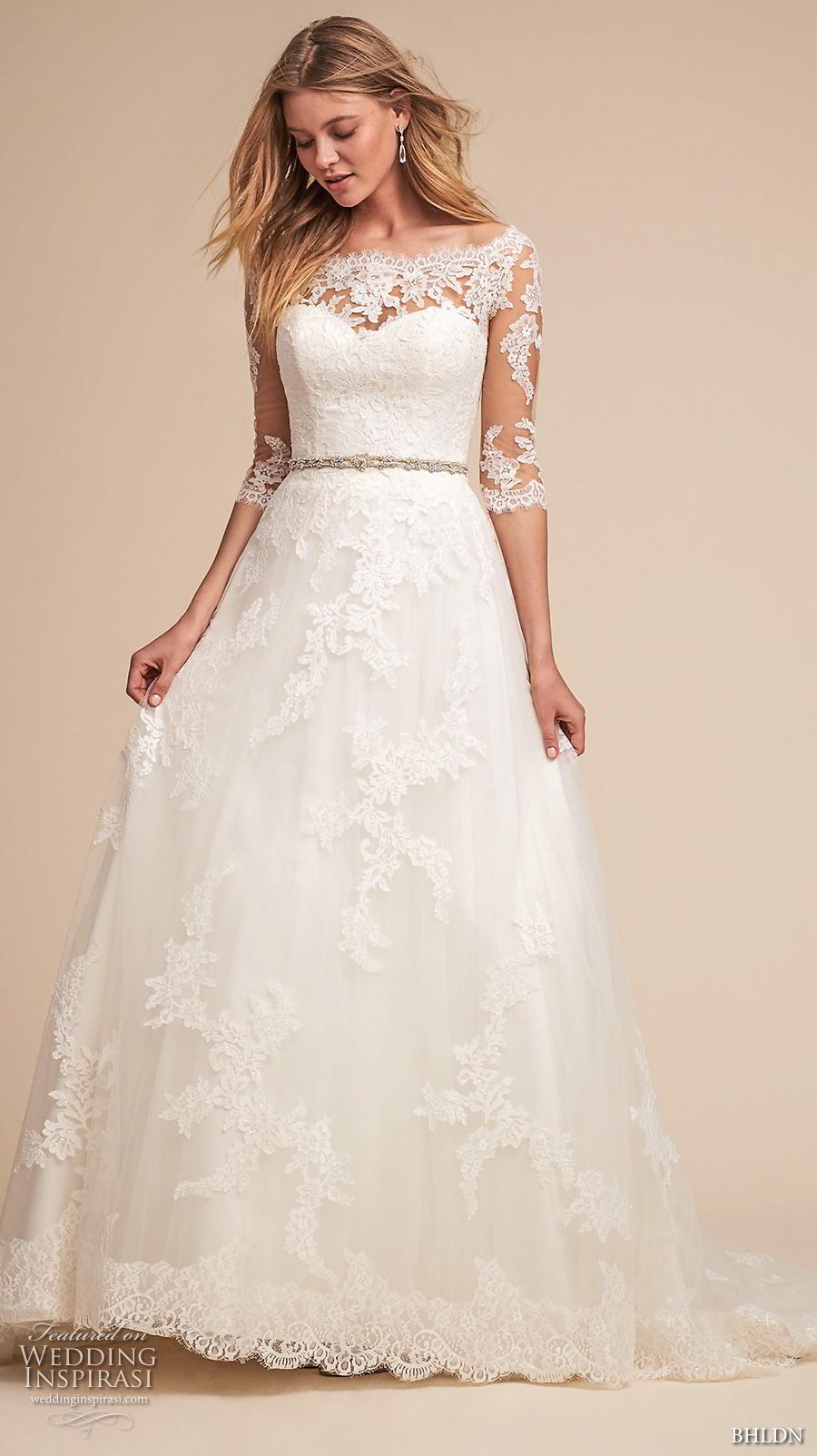 bhldn spring 2018 bridal half sleeves illusion bateau sweetheart neckline full embellishment romantic elegant a  line wedding dress lace back medium train (1) mv