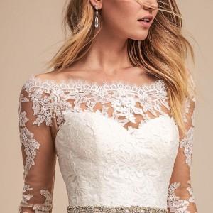 bhldn spring 2018 bridal half sleeves illusion bateau sweetheart neckline full embellishment romantic elegant a  line wedding dress lace back medium train (1) zv