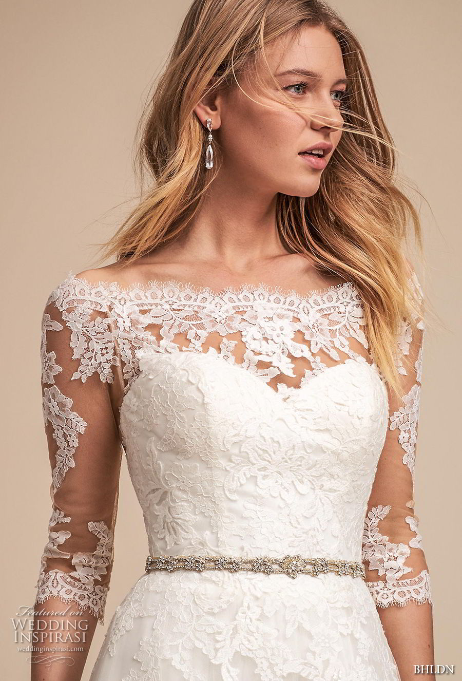bhldn spring 2018 bridal half sleeves illusion bateau sweetheart neckline full embellishment romantic elegant a  line wedding dress lace back medium train (1) zv