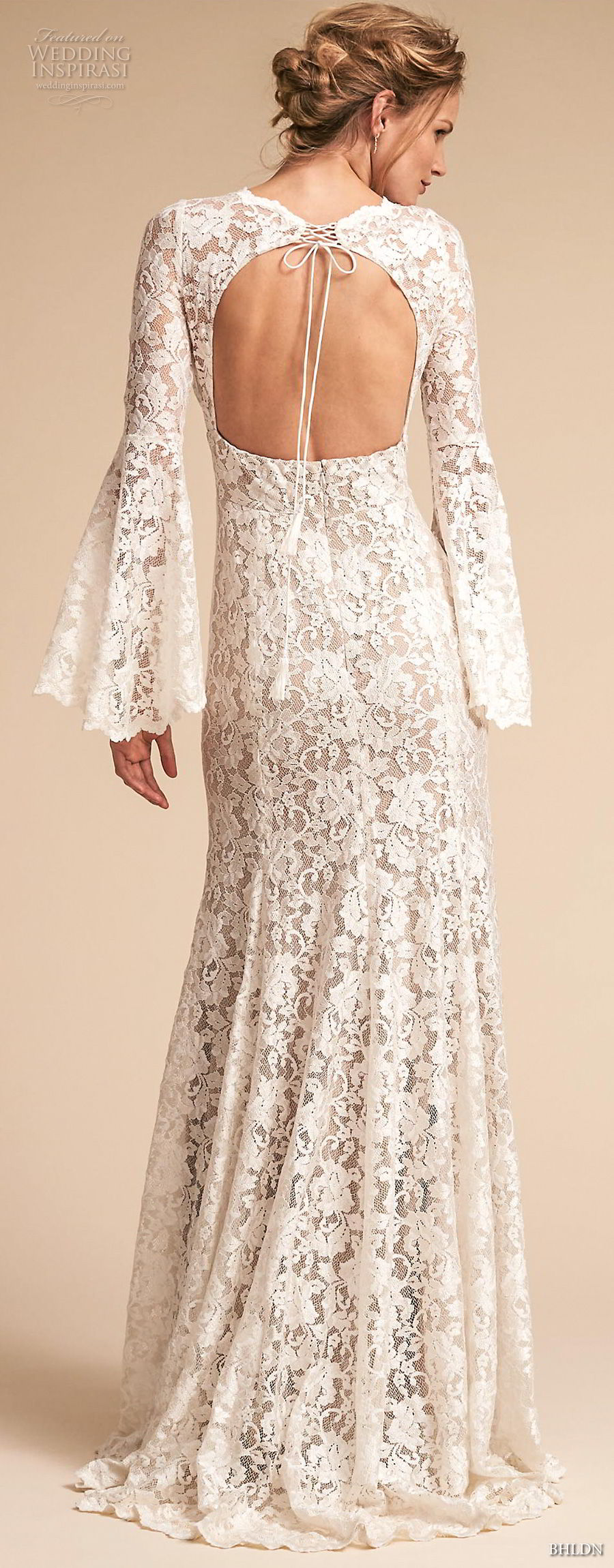bhldn spring 2018 bridal long lantern sleeves v neck full embellishment elegant vintage bohemian modified a  line wedding dress keyhole back sweep train (13) bv