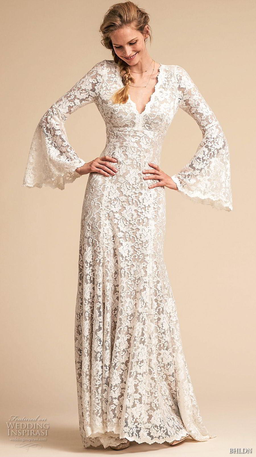 bhldn spring 2018 bridal long lantern sleeves v neck full embellishment elegant vintage bohemian modified a  line wedding dress keyhole back sweep train (13) mv