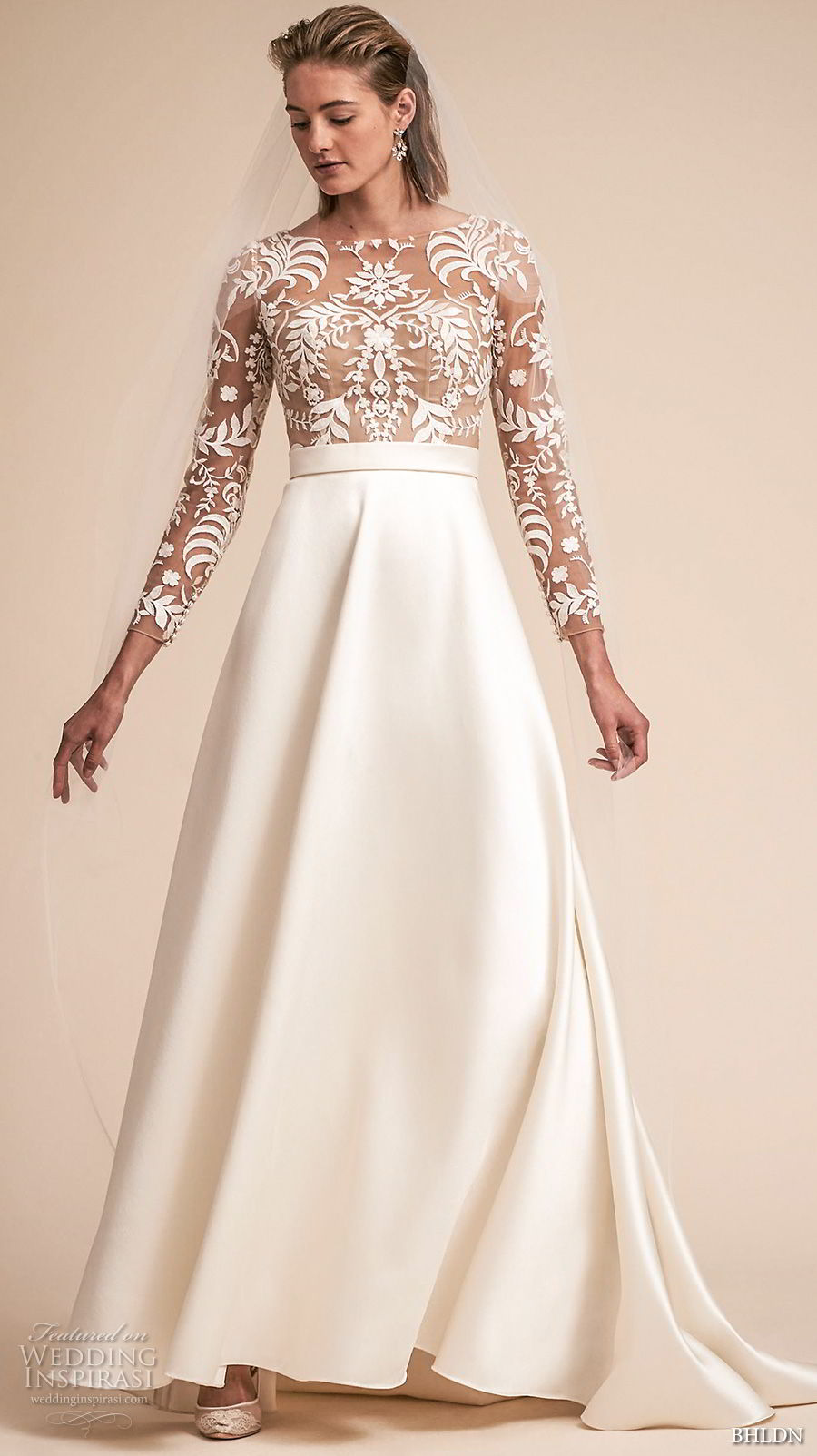 bhldn spring 2018 bridal long sleeves bateau neck heavily embellished lace bodice romantic a  line wedding dress covered lace back sweep train (15) mv