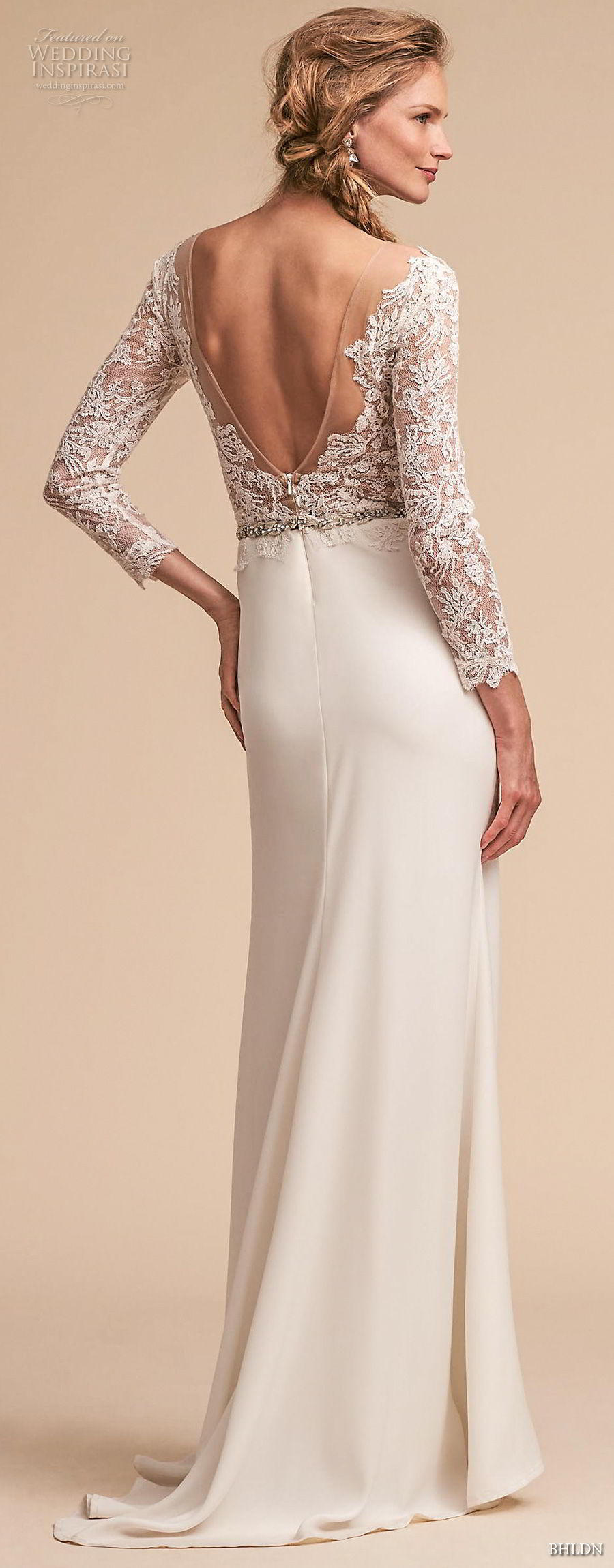bhldn spring 2018 bridal long sleeves v neck heavily embellished lace bodice elegant trumpet sheath wedding dress open v back sweep train (5) bv