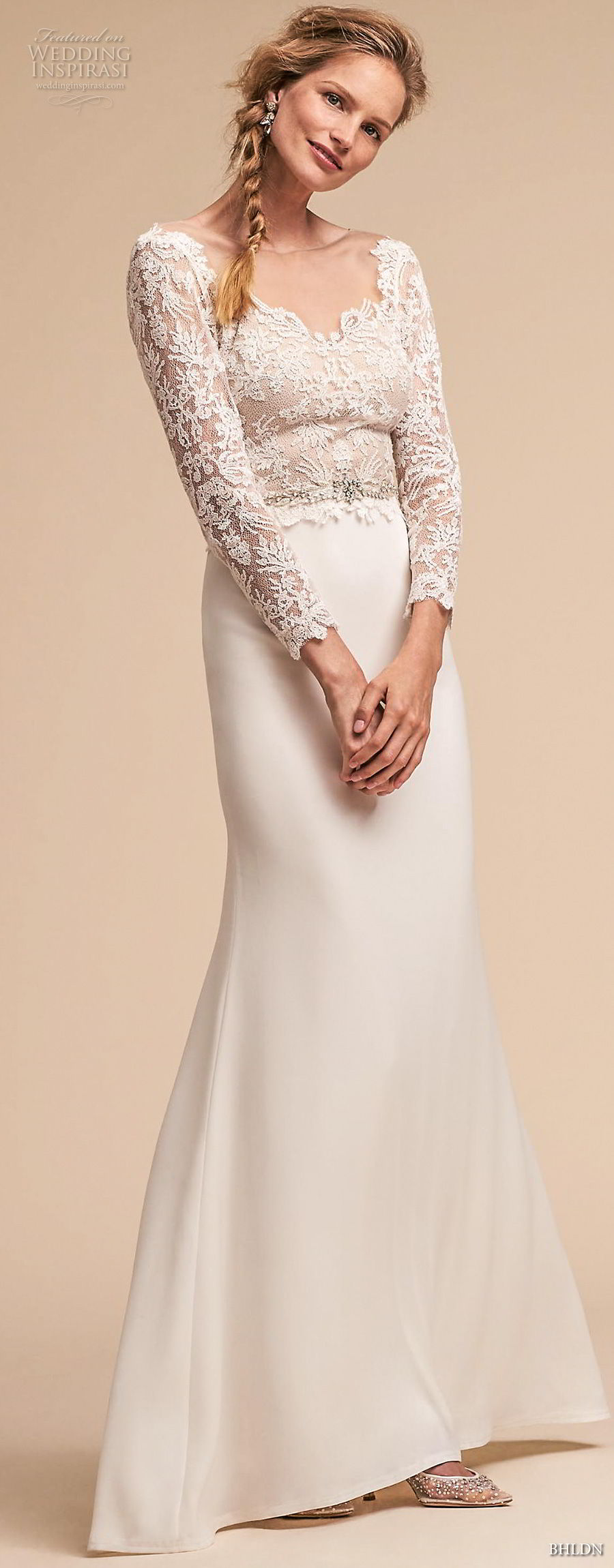 bhldn spring 2018 bridal long sleeves v neck heavily embellished lace bodice elegant trumpet sheath wedding dress open v back sweep train (5) mv