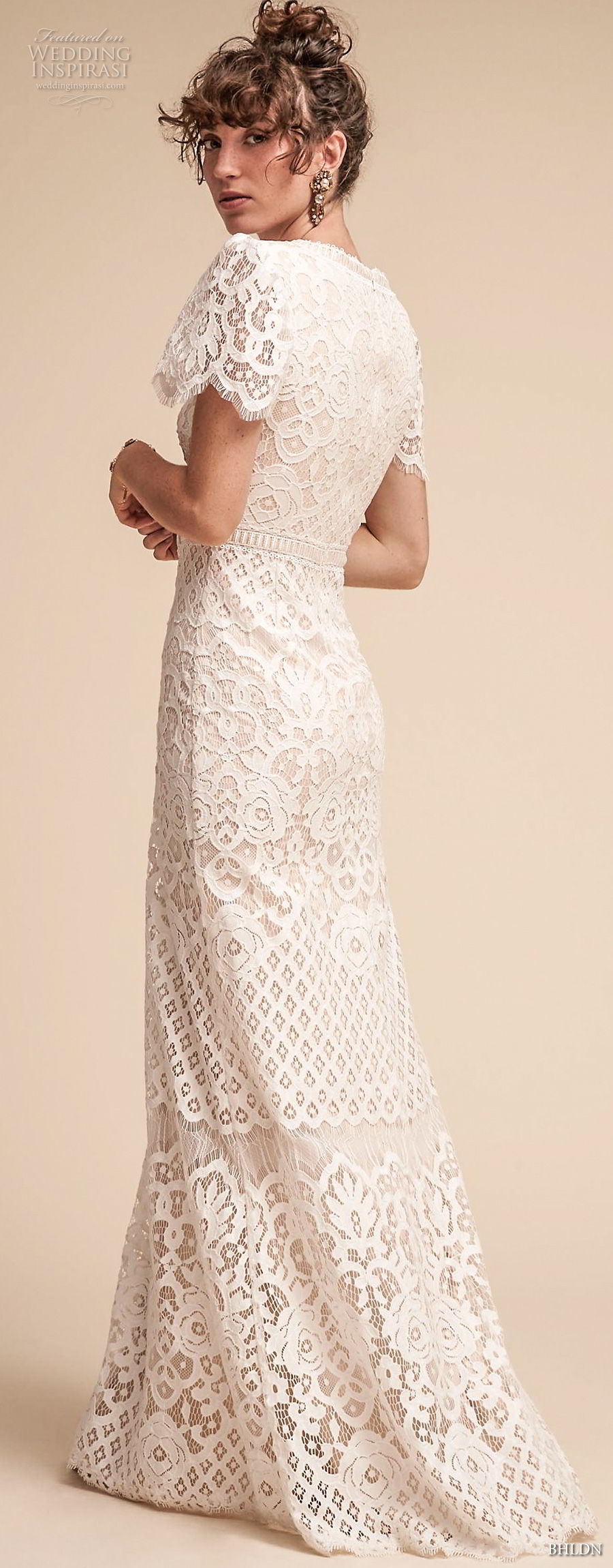 bhldn spring 2018 bridal short bell sleeves v neck full embellishment bohemian modest modified a  line wedding dress sweep train (18) bv