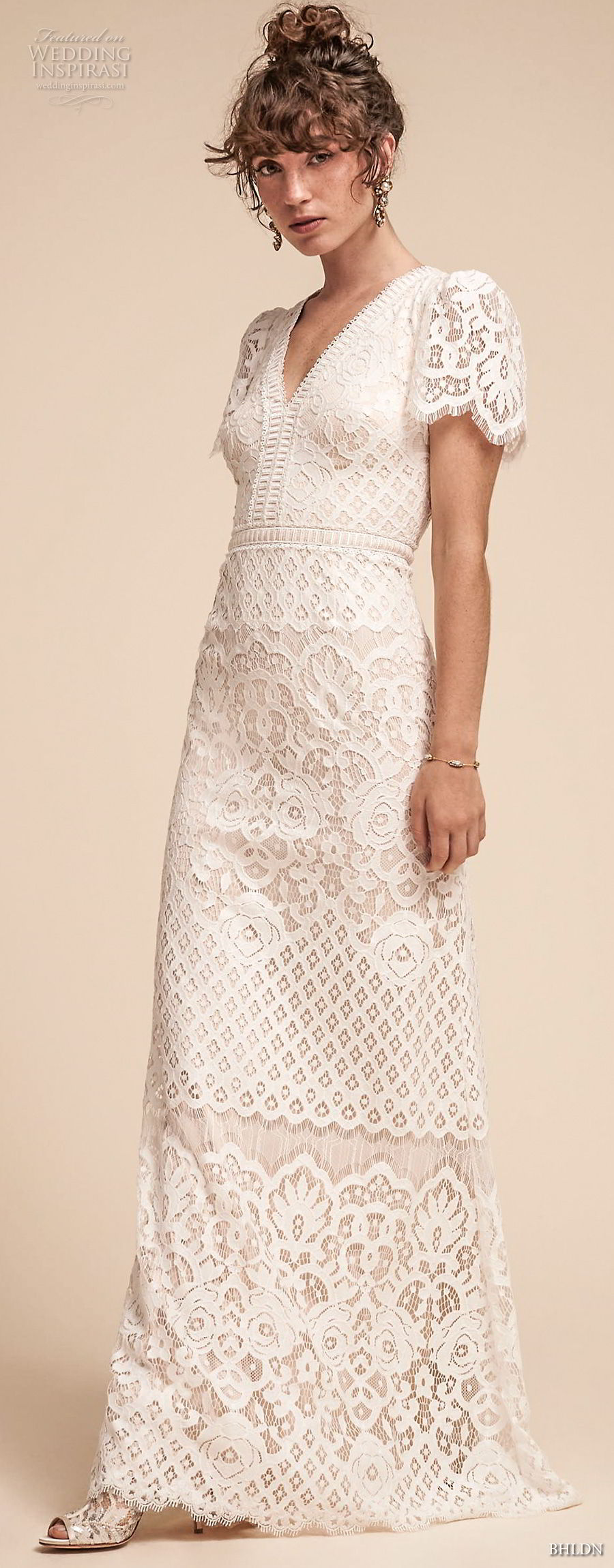 bhldn spring 2018 bridal short bell sleeves v neck full embellishment bohemian modest modified a  line wedding dress sweep train (18) mv