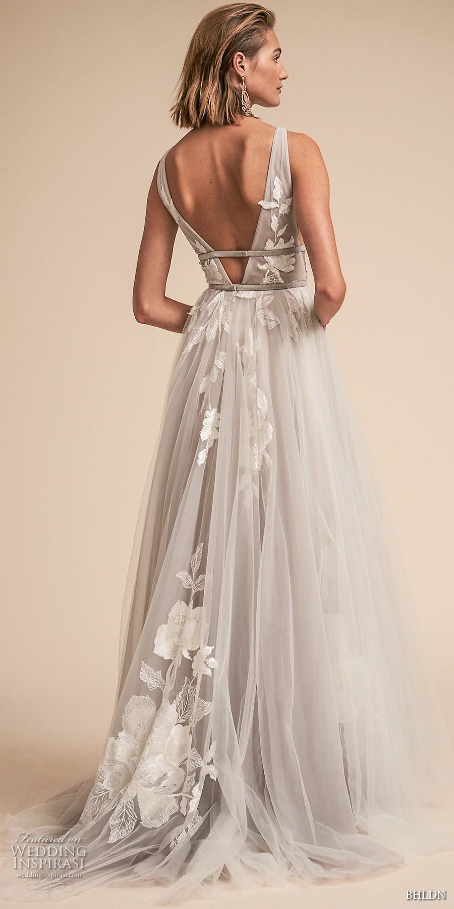 bhldn spring 2018 bridal sleeveless deep v neck light embellished bodice side open romantic soft gray a  line wedding dress open v back sweep train (19) bv