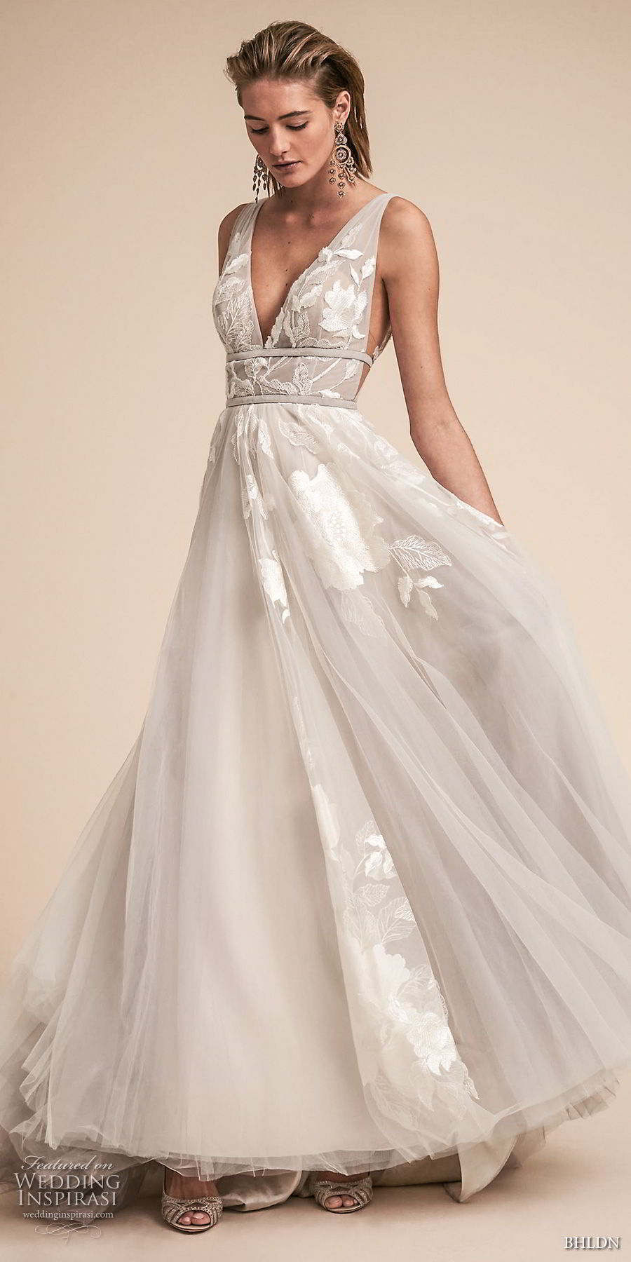 bhldn spring 2018 bridal sleeveless deep v neck light embellished bodice side open romantic soft gray a  line wedding dress open v back sweep train (19) mv