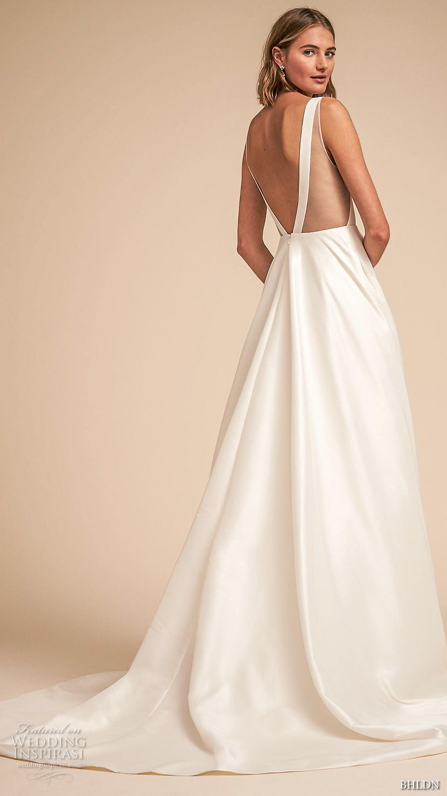bhldn spring 2018 bridal sleeveless deep v neck simple clean a  line wedding dress open v back chapel train (16) bv