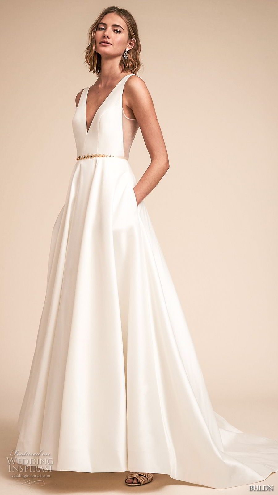 bhldn spring 2018 bridal sleeveless deep v neck simple clean a  line wedding dress open v back chapel train (16) mv