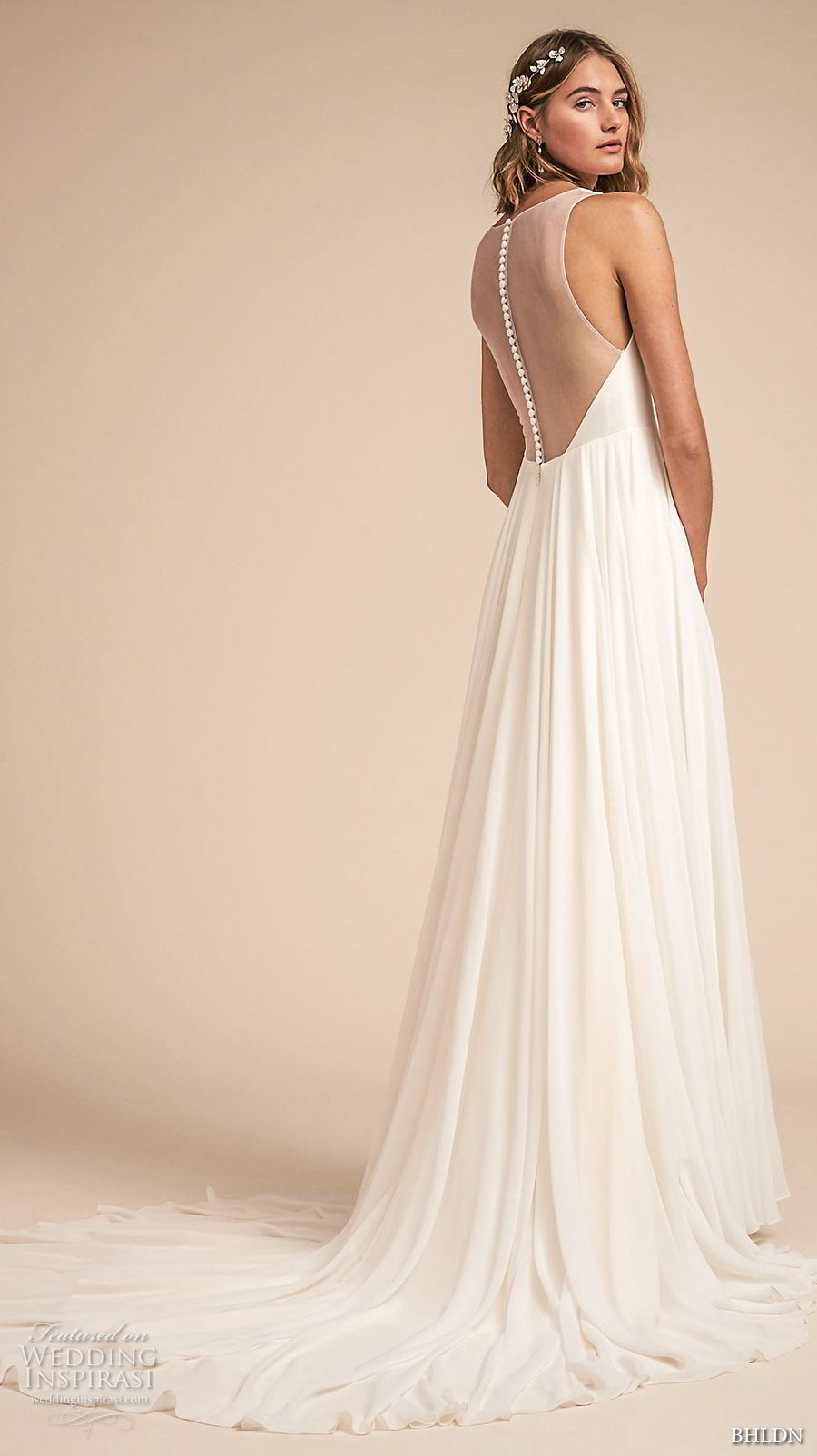 bhldn spring 2018 bridal sleeveless deep v neck simple clean bodice a  line wedding dress sheer button back chapel train (21) bv