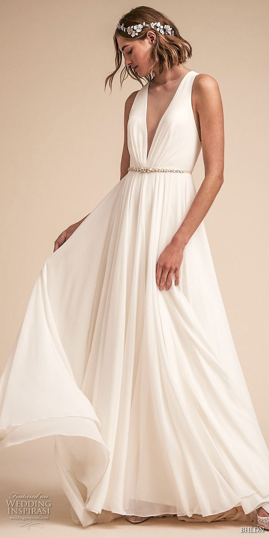 bhldn spring 2018 bridal sleeveless deep v neck simple clean bodice a  line wedding dress sheer button back chapel train (21) mv