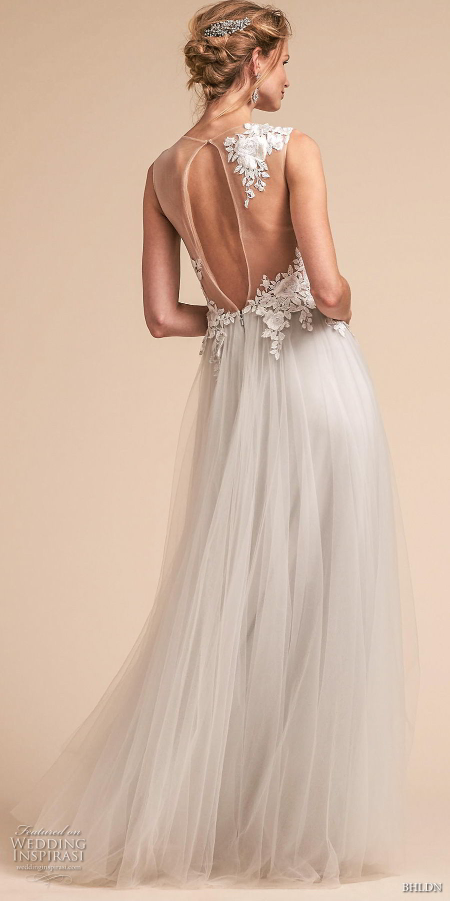 bhldn spring 2018 bridal sleeveless illusion one shoulder sweetheart neckline tulle skirt heavily embellished romantic soft a  line wedding dress sheer keyhole back sweep train (2) bv
