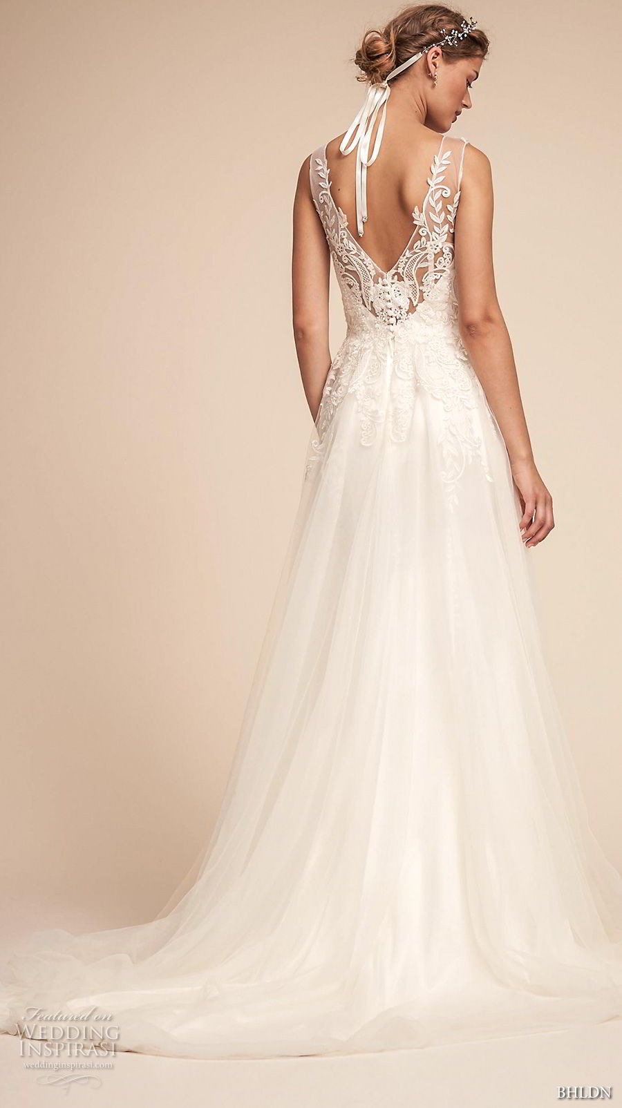 bhldn spring 2018 bridal sleeveless illusion v sweetheart neckline heavily embellished bodice tulle skirt romantic soft a  line wedding dress open v back medium train (4) bv