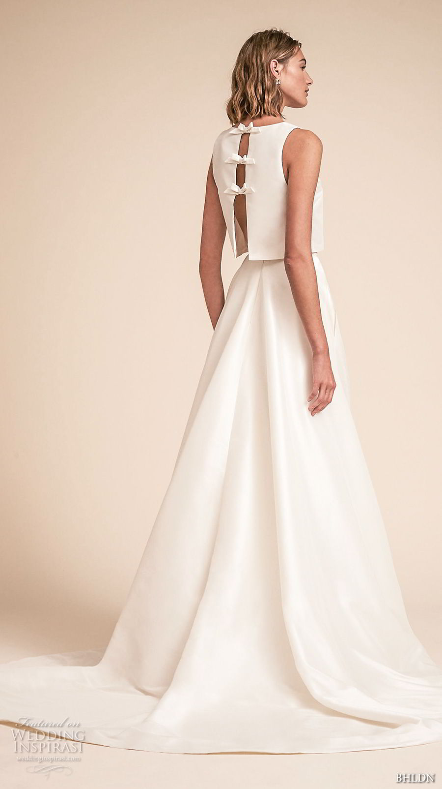 bhldn spring 2018 bridal sleeveless jewel neck simple clean bodice crop top a  line wedding dress sweep train (11) bv