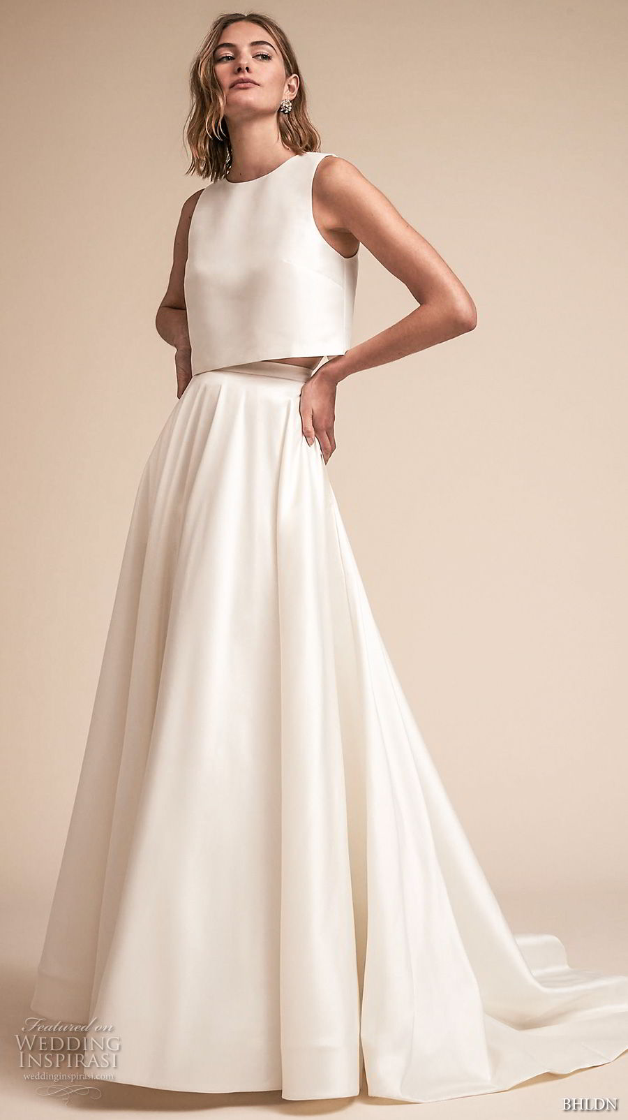bhldn spring 2018 bridal sleeveless jewel neck simple clean bodice crop top a  line wedding dress sweep train (11) mv