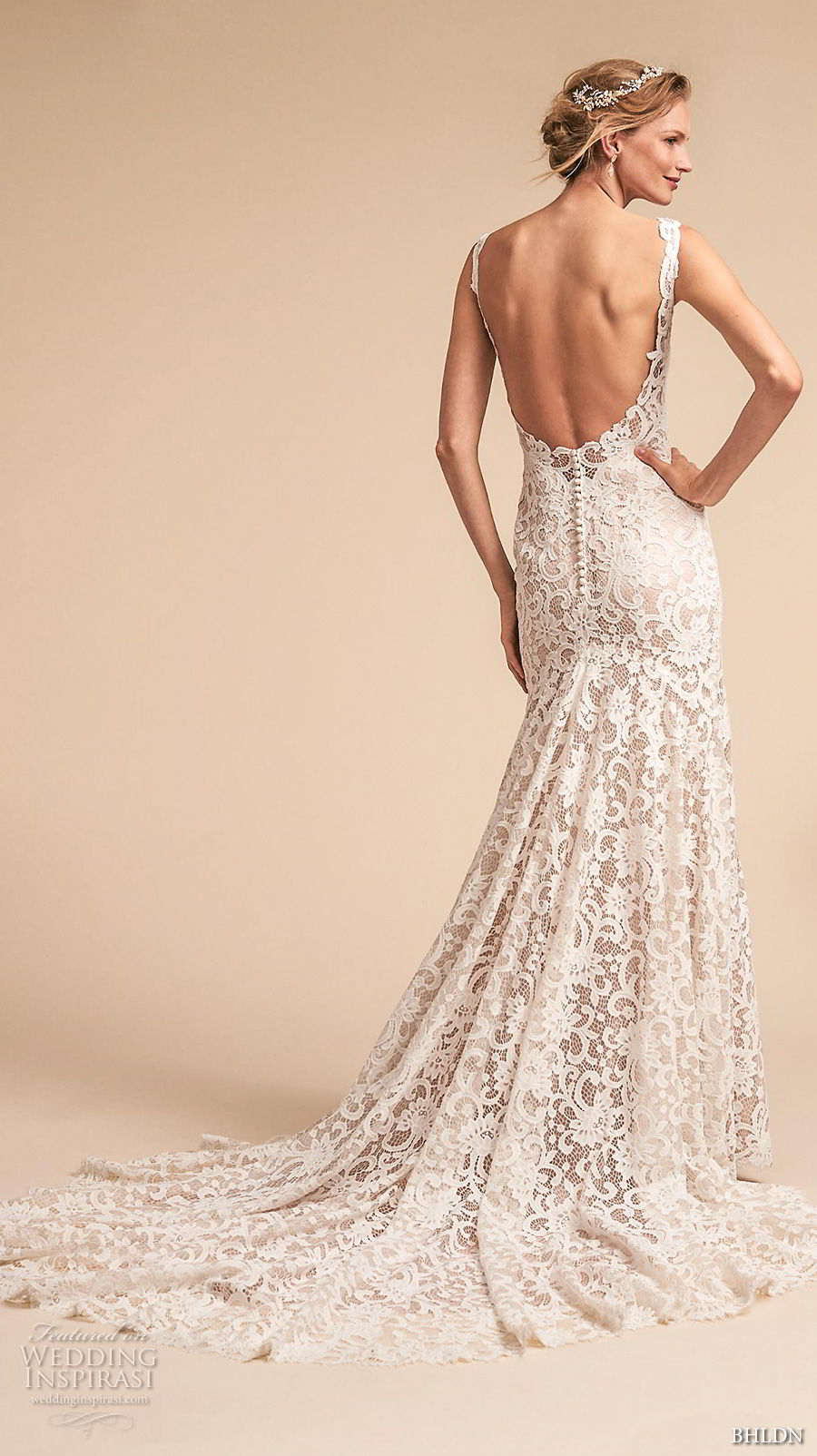 bhldn spring 2018 bridal sleeveless v neck full embellishment elegant romantic drop waist a  line wedding dress open scoop back medium train (7) bv
