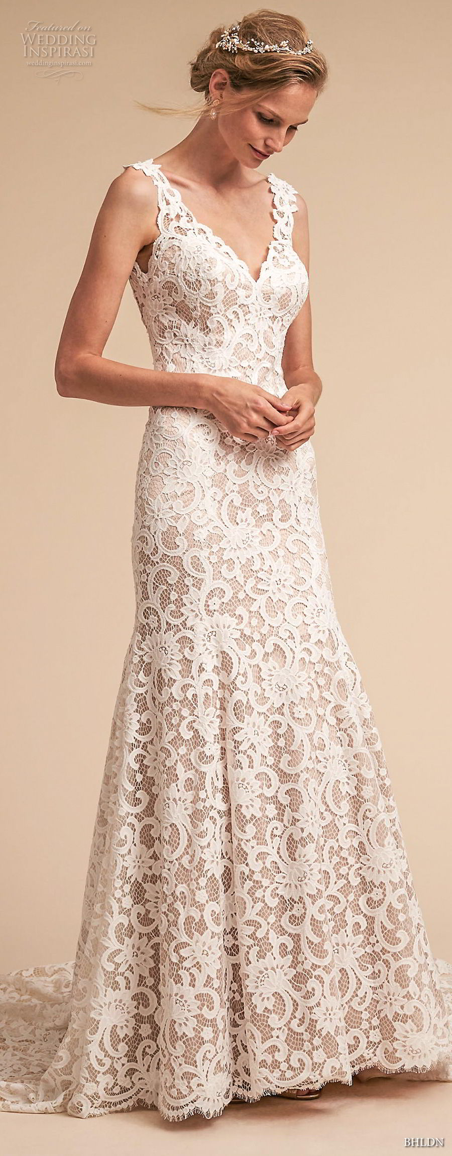 bhldn spring 2018 bridal sleeveless v neck full embellishment elegant romantic drop waist a  line wedding dress open scoop back medium train (7) mv
