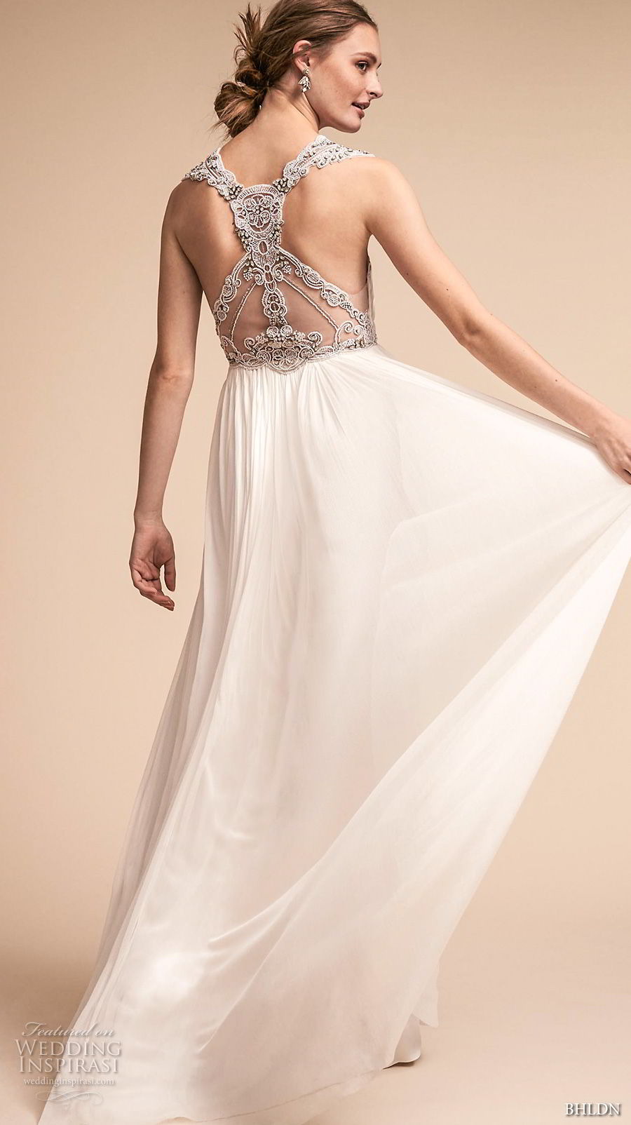 bhldn spring 2018 bridal sleeveless v neck ruched bodice elegant grecian a  line wedding dress rasor back sweep train (10) bv