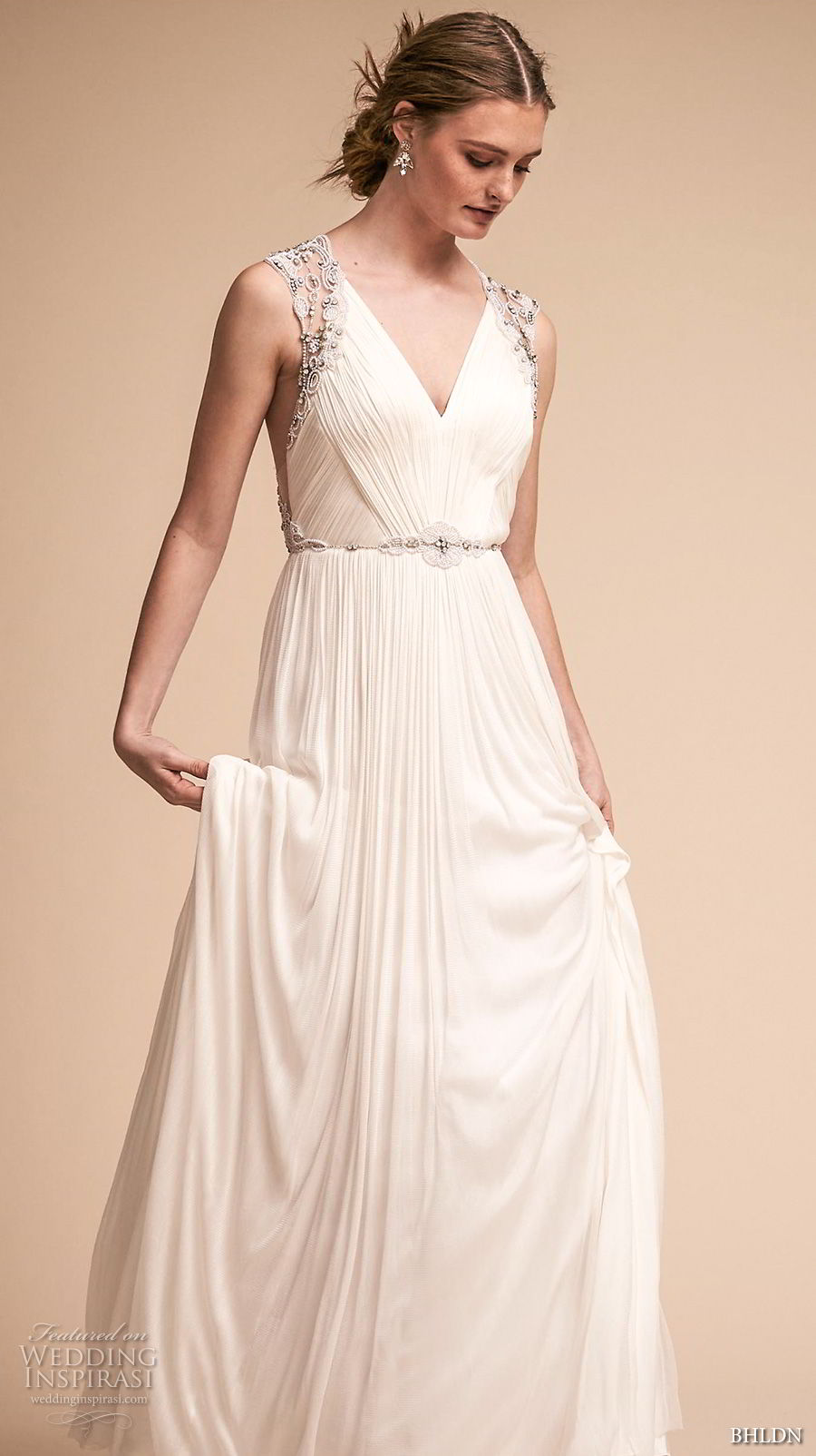 bhldn spring 2018 bridal sleeveless v neck ruched bodice elegant grecian a  line wedding dress rasor back sweep train (10) mv