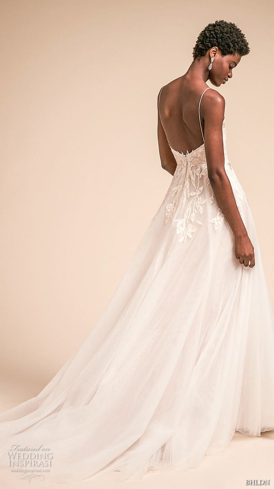 bhldn spring 2018 bridal spaghetti strap sweetheart necklne heavily embellished bodice romantic a  line wedding dress open back chapel train (9) bv