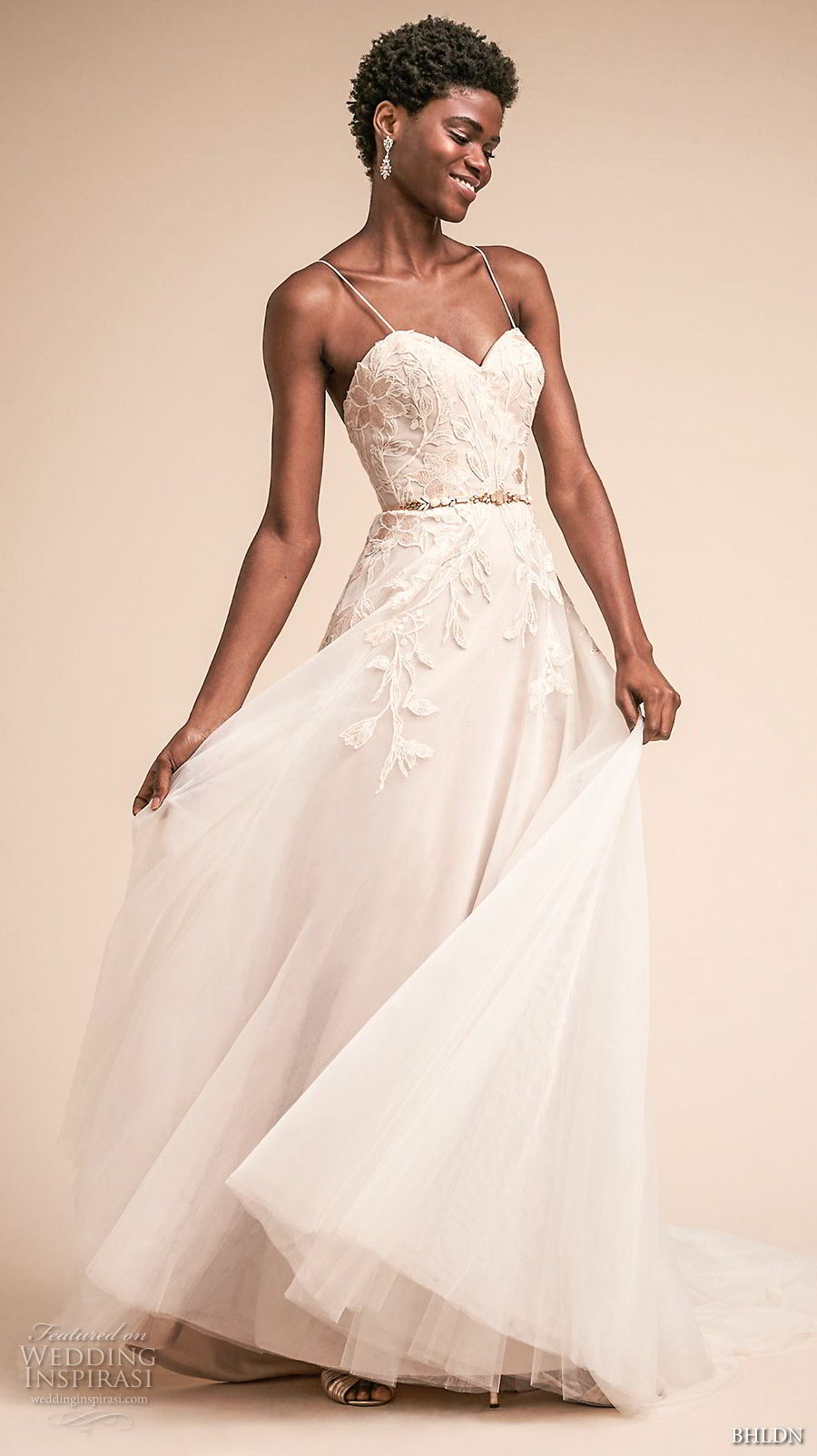 bhldn spring 2018 bridal spaghetti strap sweetheart necklne heavily embellished bodice romantic a  line wedding dress open back chapel train (9) mv