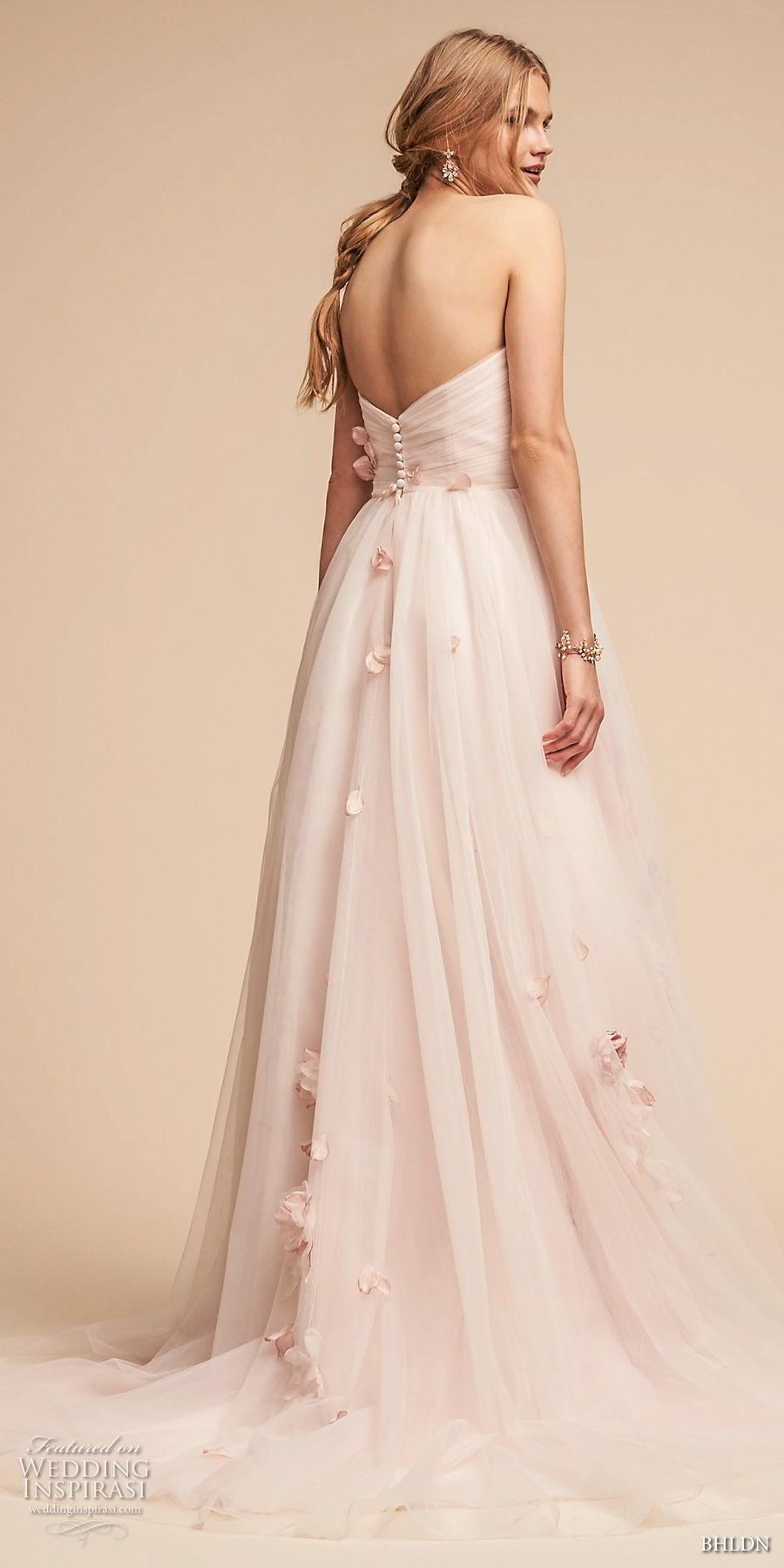 bhldn spring 2018 bridal strapless sweetheart neckine wrap over ruched bodice light embellishment romantic pink a  line wedding dress (20) bv