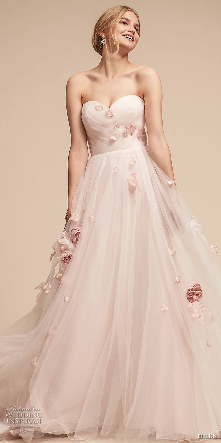 bhldn spring 2018 bridal strapless sweetheart neckine wrap over ruched bodice light embellishment romantic pink a  line wedding dress (20) mv
