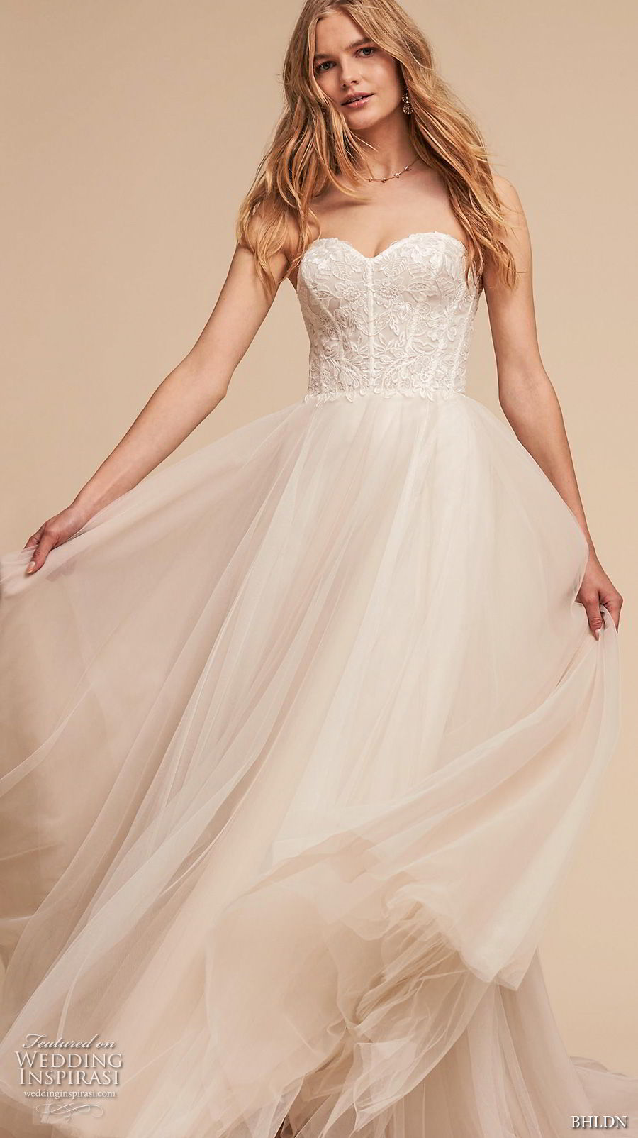 bhldn spring 2018 bridal strapless sweetheart neckline heavily embellished bodice tulle skirt romantic a  line wedding dress chapel train (3) mv