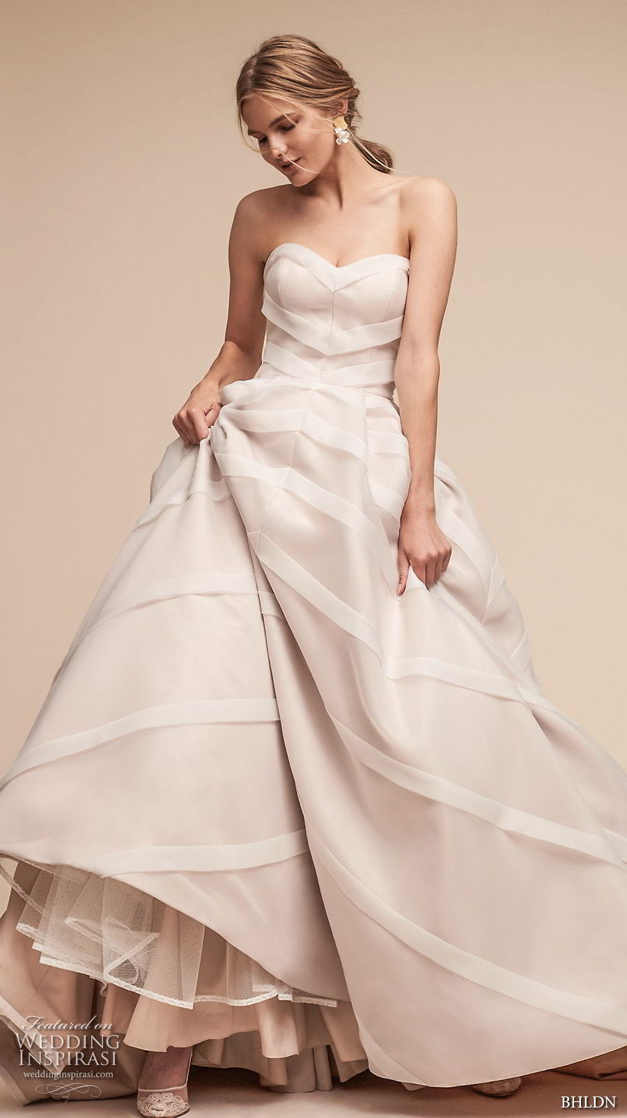 bhldn spring 2018 bridal strapless sweetheart neckline romantic a  line wedding dress chapel train (22) mv
