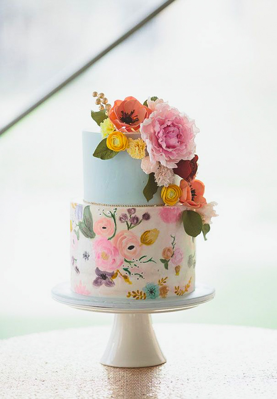 blue white 2 tier multicolor floral wedding cake (11) mv
