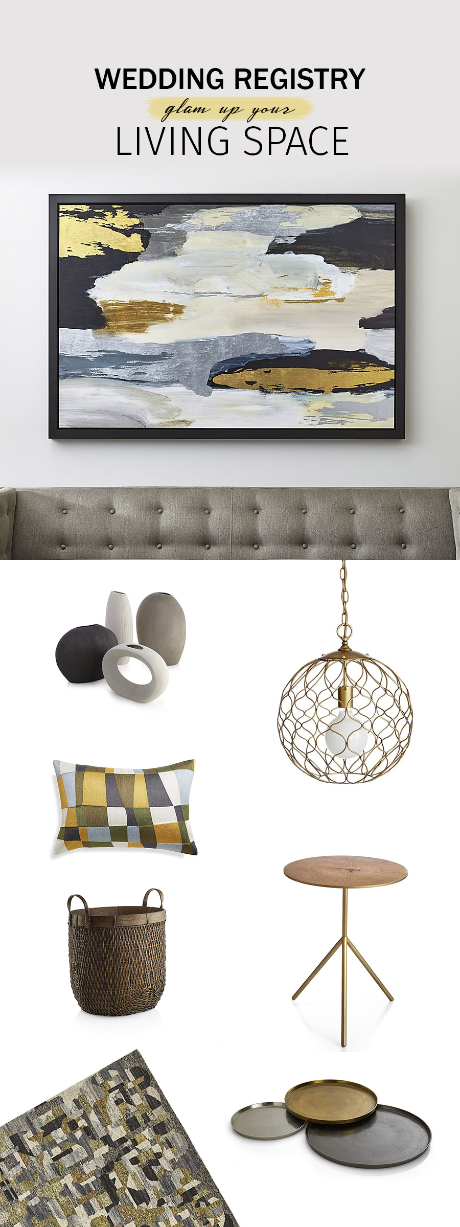 crate and barrel wedding registry ideas 2018 trendy living room essentials glam up items mixed metal gold accents