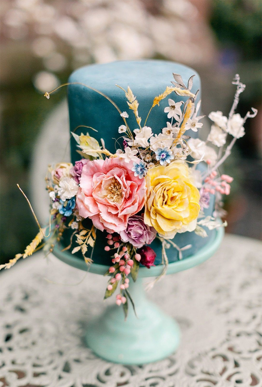 cyan 2 tiere multicolor floral wedding cake (4) mv
