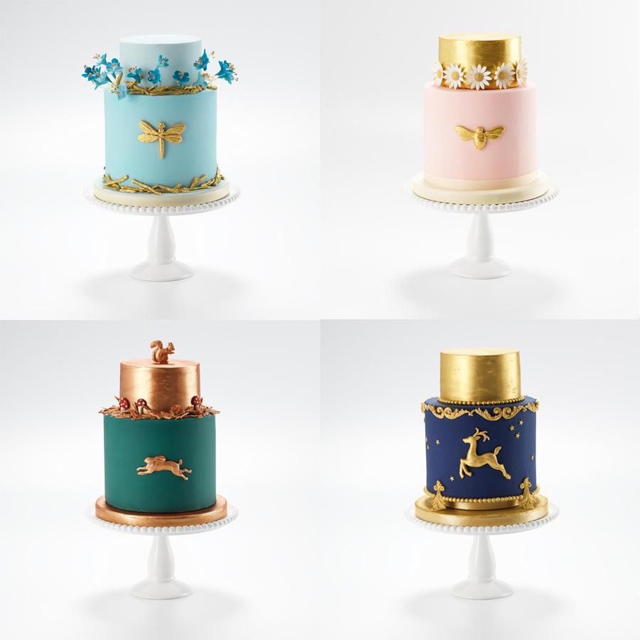 cyan pink gold blue green 2 tier wedding cake (9) mv