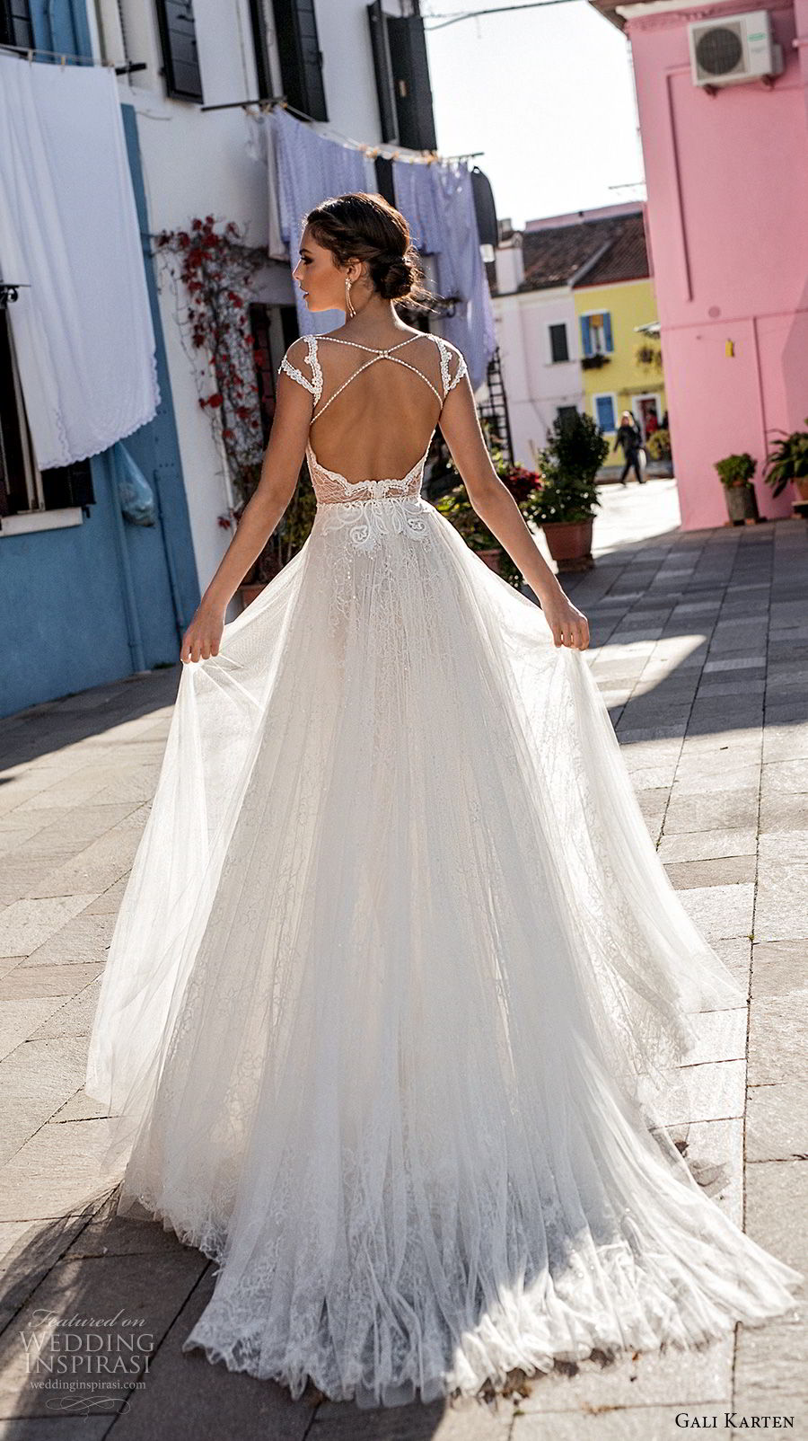 gali karten 2018 bridal cap sleeves scoop neckline heavily embellished bodice romantic soft a line wedding dress keyhole back medium train (2) bv
