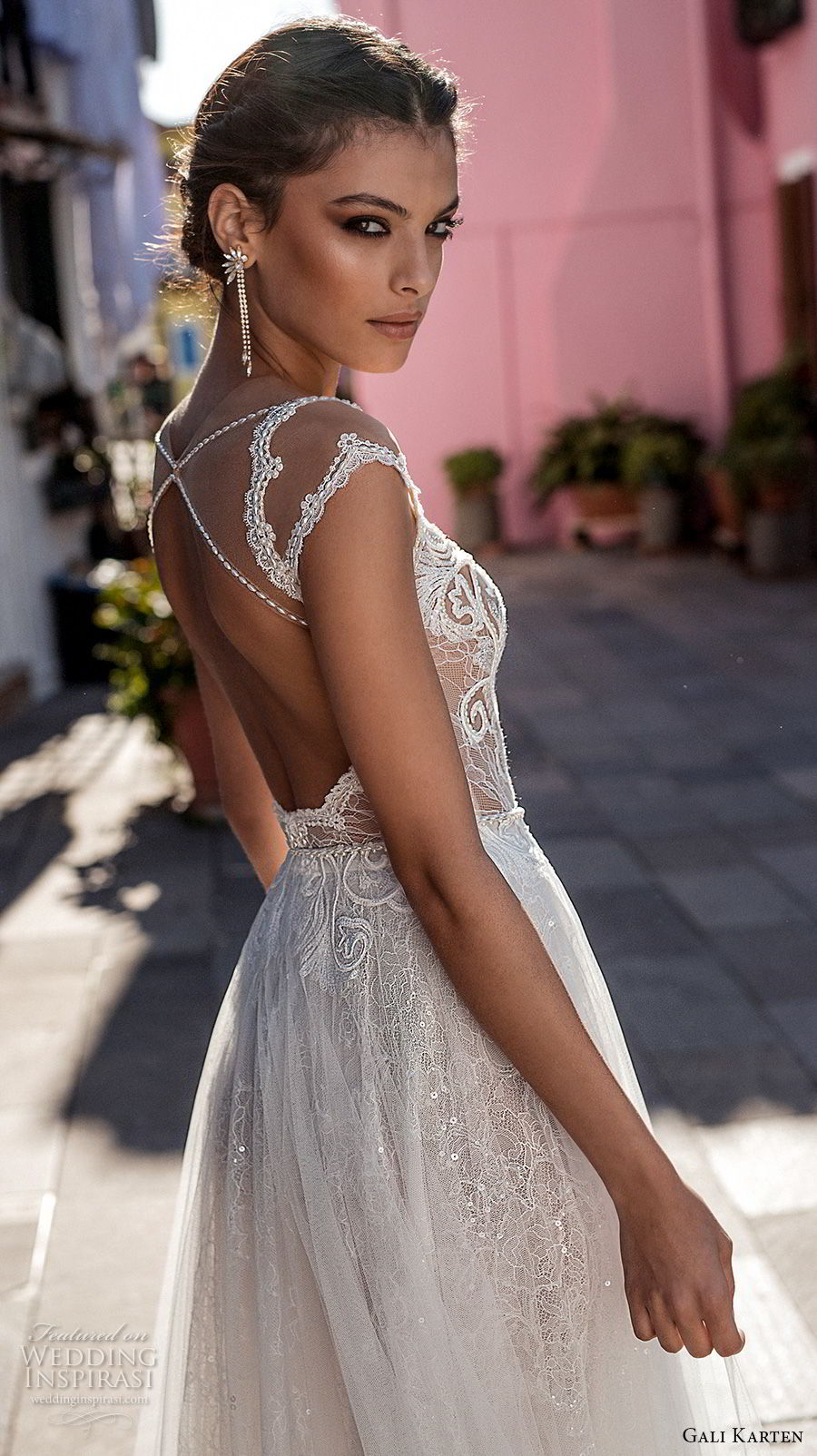 gali karten 2018 bridal cap sleeves scoop neckline heavily embellished bodice romantic soft a  line wedding dress keyhole back medium train (2) zbv