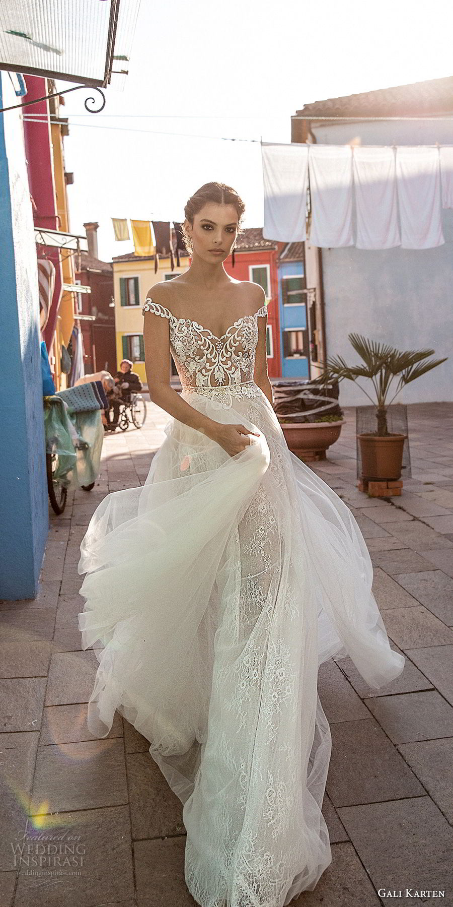 gali karten 2018 bridal off the shoulder heavily embellished bodice romantic elegant soft a  line wedding dress sweep train (12) mv