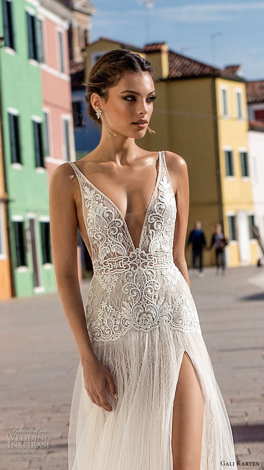 gali karten 2018 bridal sleeveless deep v neck heavily embellished bodice high slit skirt romantic sexy soft a  line wedding dress open scoop back sweep train (1) mv