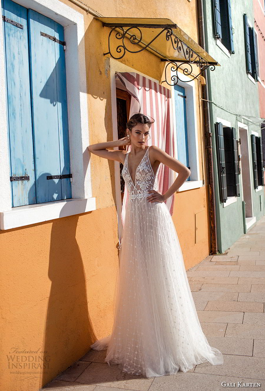 gali karten 2018 bridal sleeveless deep v neck heavily embellished bodice romantic soft a  line wedding dress open scoop back sweep train (4) mv