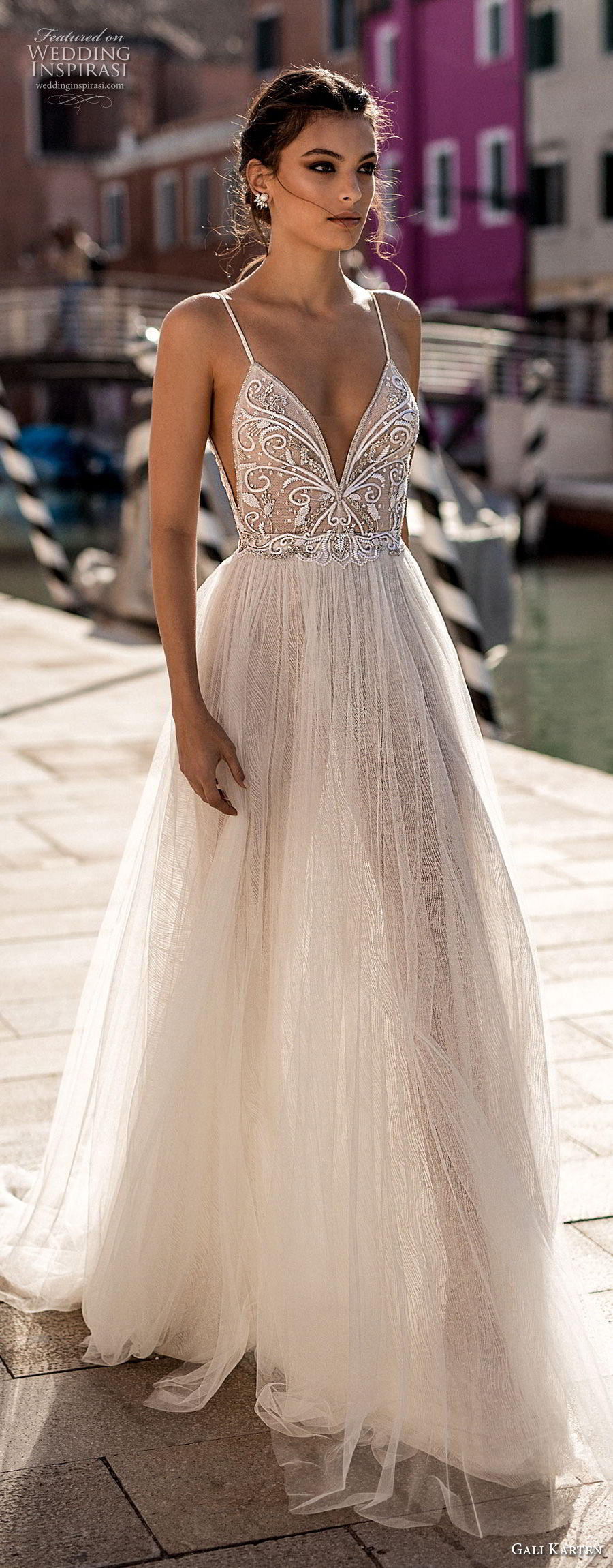 gali karten 2018 bridal spaghetti strap deep plunging sweetheart neckline heavily embellished bodice high slit skirt soft a line wedding dress open scoop back sweep train (5) lv